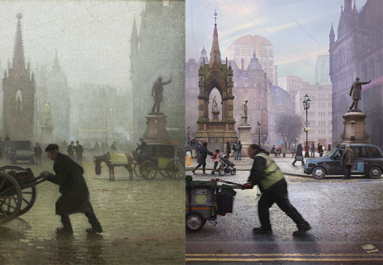 Adolphe Valette, Albert Square, Manchester, 1910 © Manchester City Galleries  Emily Allchurch, Albert Square, Manchester (after    Valette), 2015.  Collection Manchester Art Gallery,    funded through Art Happens, the Art Fund's crowd- funding platform © Emily Allchurch